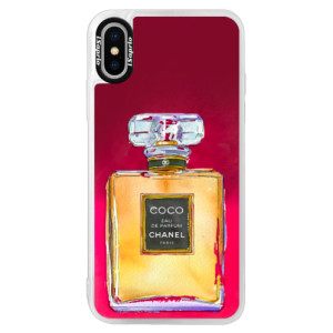 Neonové pouzdro Pink iSaprio Chanel Gold na mobil Apple iPhone X