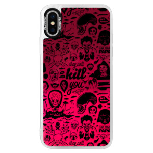Neonové pouzdro Pink iSaprio Comics 01 black na mobil Apple iPhone X