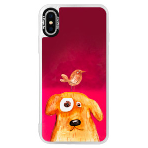 Neonové pouzdro Pink iSaprio Dog And Bird na mobil Apple iPhone X