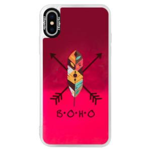 Neonové pouzdro Pink iSaprio BOHO na mobil Apple iPhone X
