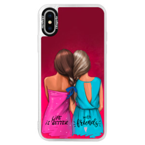 Neonové pouzdro Pink iSaprio Best Friends na mobil Apple iPhone X