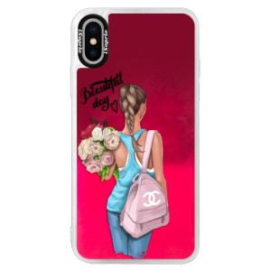 Neonové pouzdro Pink iSaprio Beautiful Day na mobil Apple iPhone X