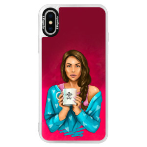 Neonové pouzdro Pink iSaprio Coffe Now Brunette na mobil Apple iPhone X