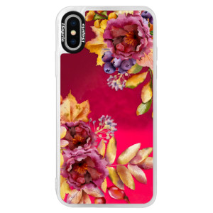 Neonové pouzdro Pink iSaprio Fall Flowers na mobil Apple iPhone X