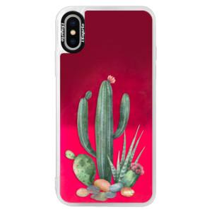 Neonové pouzdro Pink iSaprio Cacti 02 na mobil Apple iPhone X