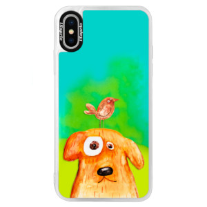 Neonové pouzdro Blue iSaprio Dog And Bird na mobil Apple iPhone X