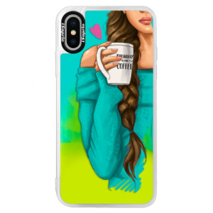 Neonové pouzdro Blue iSaprio My Coffe and Brunette Girl na mobil Apple iPhone X