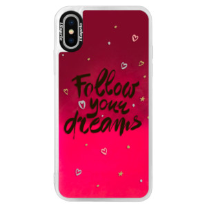 Neonové pouzdro Pink iSaprio Follow Your Dreams black na mobil Apple iPhone XS