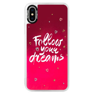 Neonové pouzdro Pink iSaprio Follow Your Dreams white na mobil Apple iPhone XS