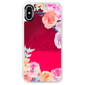 Neonové pouzdro Pink iSaprio Flower Brush na mobil Apple iPhone XS