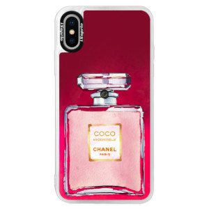 Neonové pouzdro Pink iSaprio Chanel Rose na mobil Apple iPhone XS