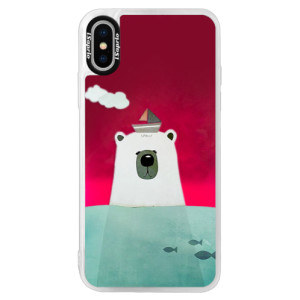 Neonové pouzdro Pink iSaprio Bear With Boat na mobil Apple iPhone XS