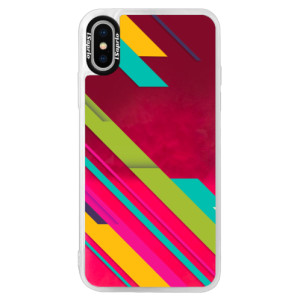 Neonové pouzdro Pink iSaprio Color Stripes 03 na mobil Apple iPhone XS