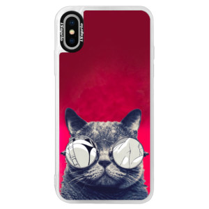 Neonové pouzdro Pink iSaprio Crazy Cat 01 na mobil Apple iPhone XS