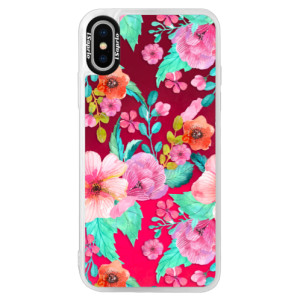 Neonové pouzdro Pink iSaprio Flower Pattern 01 na mobil Apple iPhone XS