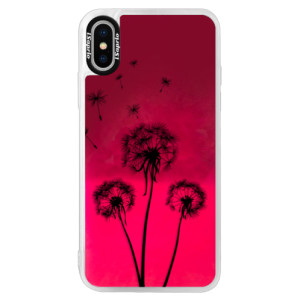 Neonové pouzdro Pink iSaprio Three Dandelions black na mobil Apple iPhone XS