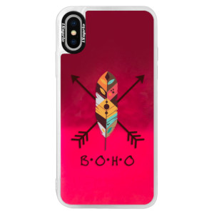 Neonové pouzdro Pink iSaprio BOHO na mobil Apple iPhone XS