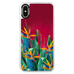 Neonové pouzdro Pink iSaprio Exotic Flowers na mobil Apple iPhone XS