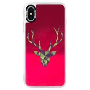 Neonové pouzdro Pink iSaprio Deer Green na mobil Apple iPhone XS