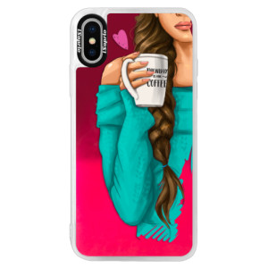 Neonové pouzdro Pink iSaprio My Coffe and Brunette Girl na mobil Apple iPhone XS
