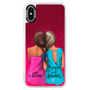 Neonové pouzdro Pink iSaprio Best Friends na mobil Apple iPhone XS