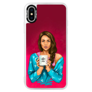 Neonové pouzdro Pink iSaprio Coffe Now Brunette na mobil Apple iPhone XS
