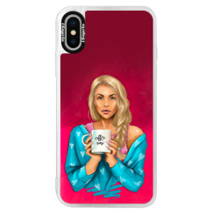 Neonové pouzdro Pink iSaprio Coffe Now Blond na mobil Apple iPhone XS