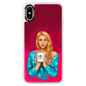 Neonové pouzdro Pink iSaprio Coffe Now Redhead na mobil Apple iPhone XS