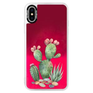 Neonové pouzdro Pink iSaprio Cacti 01 na mobil Apple iPhone XS