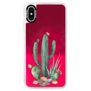 Neonové pouzdro Pink iSaprio Cacti 02 na mobil Apple iPhone XS