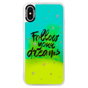 Neonové pouzdro Blue iSaprio Follow Your Dreams black na mobil Apple iPhone XS