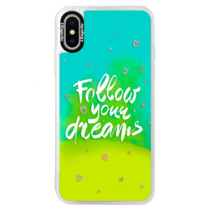 Neonové pouzdro Blue iSaprio Follow Your Dreams white na mobil Apple iPhone XS