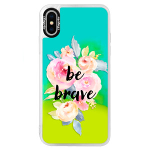 Neonové pouzdro Blue iSaprio Be Brave na mobil Apple iPhone XS