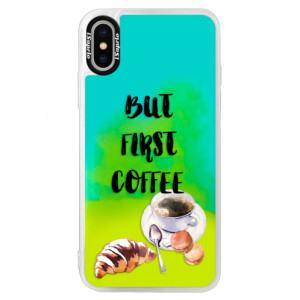 Neonové pouzdro Blue iSaprio First Coffee na mobil Apple iPhone XS