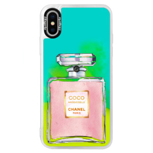 Neonové pouzdro Blue iSaprio Chanel Rose na mobil Apple iPhone XS