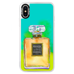 Neonové pouzdro Blue iSaprio Chanel Gold na mobil Apple iPhone XS