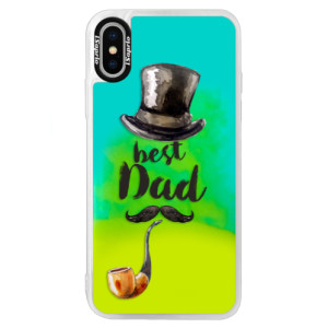 Neonové pouzdro Blue iSaprio Best Dad na mobil Apple iPhone XS