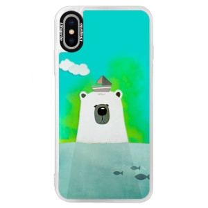 Neonové pouzdro Blue iSaprio Bear With Boat na mobil Apple iPhone XS