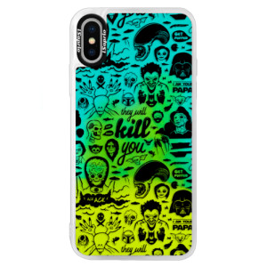 Neonové pouzdro Blue iSaprio Comics 01 black na mobil Apple iPhone XS