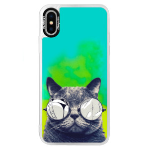 Neonové pouzdro Blue iSaprio Crazy Cat 01 na mobil Apple iPhone XS