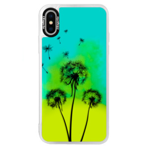 Neonové pouzdro Blue iSaprio Three Dandelions black na mobil Apple iPhone XS