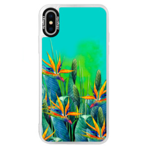 Neonové pouzdro Blue iSaprio Exotic Flowers na mobil Apple iPhone XS
