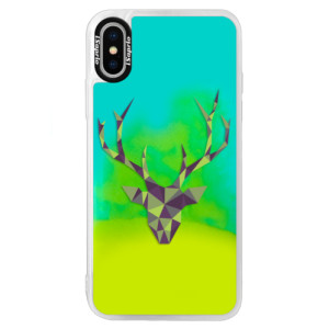 Neonové pouzdro Blue iSaprio Deer Green na mobil Apple iPhone XS