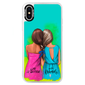Neonové pouzdro Blue iSaprio Best Friends na mobil Apple iPhone XS