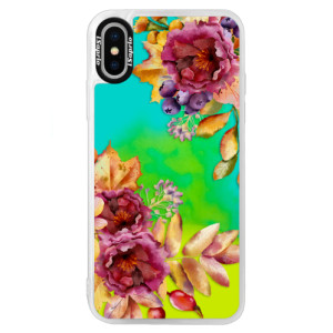 Neonové pouzdro Blue iSaprio Fall Flowers na mobil Apple iPhone XS