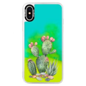 Neonové pouzdro Blue iSaprio Cacti 01 na mobil Apple iPhone XS