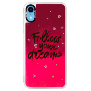 Neonové pouzdro Pink iSaprio Follow Your Dreams black na mobil Apple iPhone XR