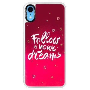 Neonové pouzdro Pink iSaprio Follow Your Dreams white na mobil Apple iPhone XR