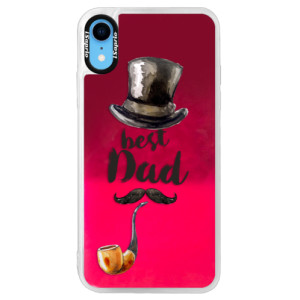 Neonové pouzdro Pink iSaprio Best Dad na mobil Apple iPhone XR