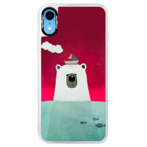 Neonové pouzdro Pink iSaprio Bear With Boat na mobil Apple iPhone XR